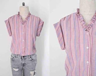 Vintage 1980's blouse PINK STRIPED ruffle neck sleeveless - M