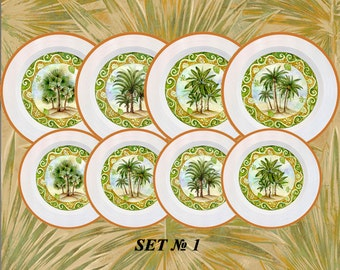 Tropical decor, palm tree art, tropical wall art, tropical art, tropical palm leaf, tropical leaves, palms leaves decor, palm tree plates