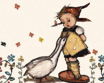 375 the little girl and her GEESE 1 towel 1 solo lunch size paper