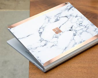 Bianco Sivec White Marble and Rose Gold Edge Vinyl Skin for Microsoft Surface Book , Surface Laptop , Surface Pro 2017  - Platinum Edition