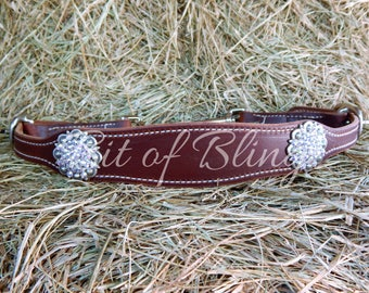 Oiled Harness Leather Bling Wither Strap Swarovski Rhinestone Conchos Horse Tack Rodeo Barrel Racing Pole BEnding Trail Riding Western