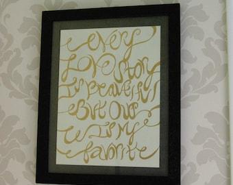 Framed Word Art, Black and Gold, Love Story, Wedding decor
