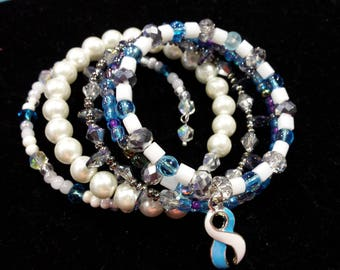 White and Teal Awareness Ribbon Wraparound Bracelet - Cervical Cancer awareness