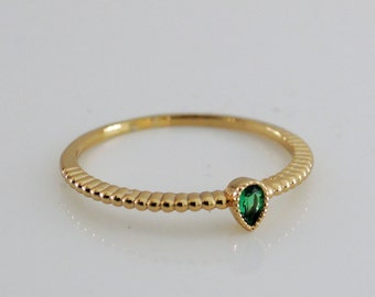 Emerald Green Ring - Gold Ring - May Birthstone Ring - Stackable Ring - Skinny Ring - Stacking Ring