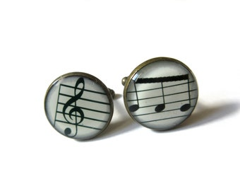 MUSIC CUFFLINKS - Treble Clef Music Cufflinks - musical symbol - Music Cufflinks - Musician Cufflinks,Wedding Cufflink, for Him Men Jewelery