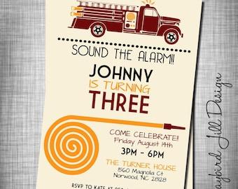 Firetruck Birthday Invitation, Fire Engine Invite, Little fireman