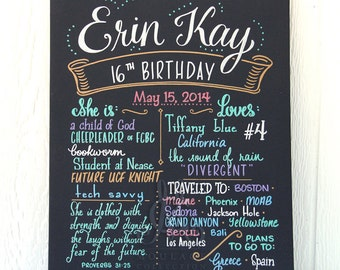 """Sweet Sixteen Favorite Things Poster™, 16""""x20"""" canvas, 16th birthday, chalkboard style custom ink drawing"""