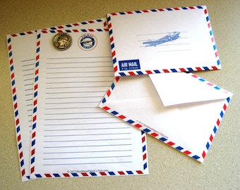 Ruled Air Mail Stationery with Envelope (Digital Download)