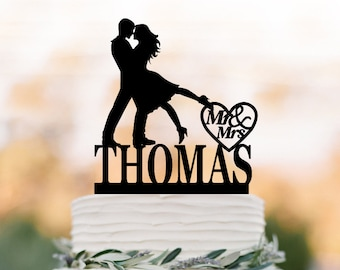 Personalized Wedding Cake topper mr and mrs,  silhouette wedding cake topper custom name, Bride and groom cake topper