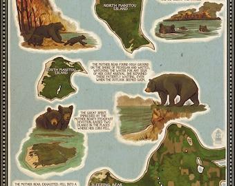 Sleeping Bear Dunes, Michigan - Sleeping Bear Dunes Legend Map - Lantern Press Artwork (Art Print - Multiple Sizes Available)