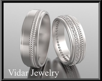 His and Hers 14K Matching  Wedding Bands Set,Unique Matching Wedding Bands,Eternity Matching Wedding Ring Set