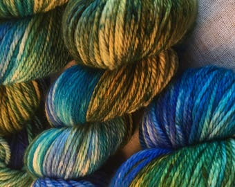 Blue, Green, Aqua Hand Dyed 10ply Aran Weight Merino Wool