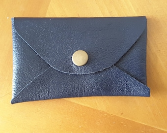 Handmade Navy Leather Card Case
