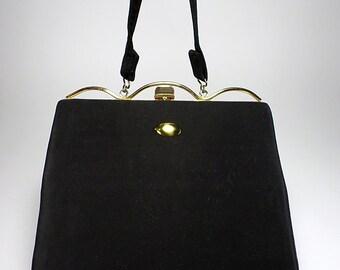 Vintage 1950's Slim Handbag, Black, Imperial, Women's Ladies Fashion, Mid Century Fashion, Props