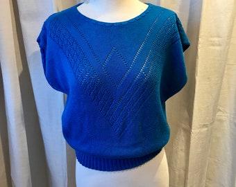 Vintage Cap Sleeved Knit Top,Royal Blue, Hipster, Preppy, Crochet SZ. S-M