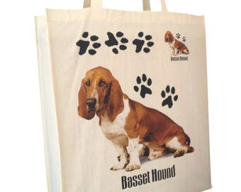 Basset Hound Paws Cotton Shopping Tote Bag with Gusset and Long Handles