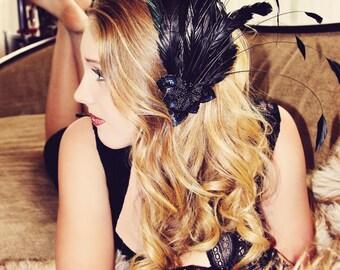 Gatsby Girl Black Feather Fascinator