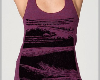 Womens WAVES beach top block print style American Apparel Racerback Tank top