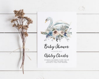 Swan Baby Shower Invitation, Girl Baby Shower Invite, Gender Neutral, Simple Modern, Printable Summer Shower Pink and Blue 1st Birthday