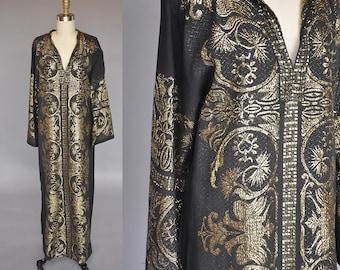 Vintage 70s kaftan | 70s black and gold maxi dress | vintage greek kaftan | gold embroidered kaftan M/L