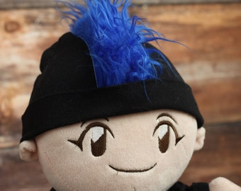 Blue Mohawk Hat Personalized Punk Rocker Baby Beanie