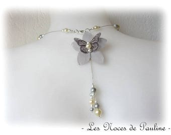 Wedding gray and Yellow Butterfly and flower Katell back jewel
