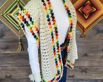 Cream Wool Knitted Vest with Colorful trim