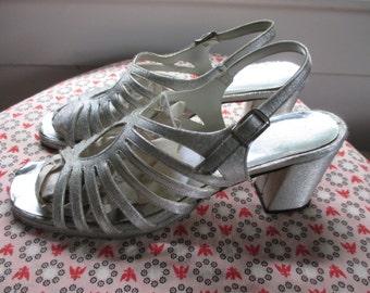 Sale - Silver 1970s Heels