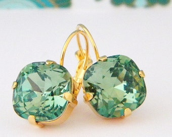 Swarovski Green Erinite Cushion Cut Gold Prong Leverback Earrings