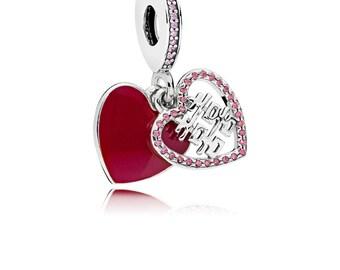 Pandora Double Happiness Heart Dangle 796590EN151 Charm, Crimson Red Enamel & Multi-Colored CZ Valentine's Day 2018