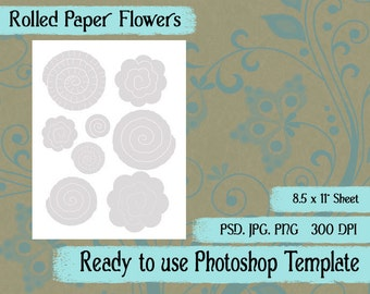 Scrapbook Digital Collage Photoshop Template, Rolled Paper Roses Flowers
