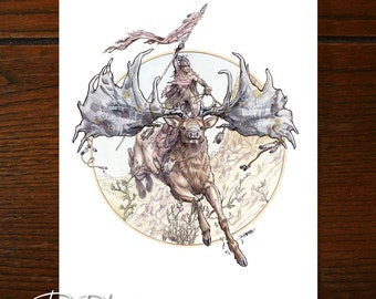 Riding The Great Stag | Fantasy Art |  Archival Art Print Giclee by Deon de Lange