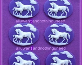 6 White Mother HORSE and Baby COLT Equine on Purple or Dark Lavender Horizontal Cameos 40mm x 30mm Resin Cameo Lot for Costume Jewelry
