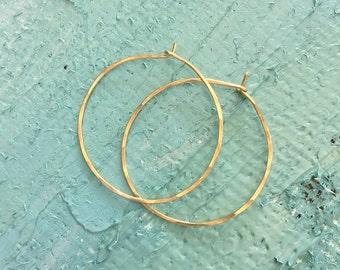 Hammered Gold Hoops, Medium Gold Hoop Earrings, 14KT Gold Filled Hoop Earrings, Gold Hoop Earrings