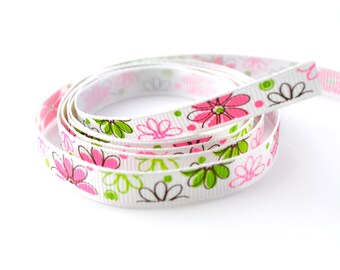 White Ribbon printed pink flowers and green 9 mm