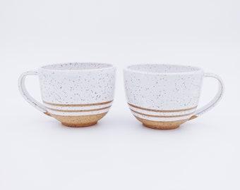 White striped speckled latte mug