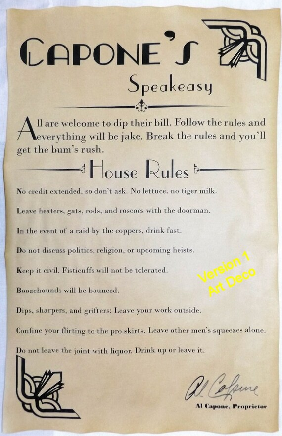 Al Capone\'s Speakeasy House Rules Poster 11 x 17 bar