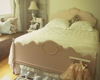 Shabby chic pale pink antique girl's child's chalk painted distressed double bed frame, painted bed frame headboard, toddler bed, girl's bed