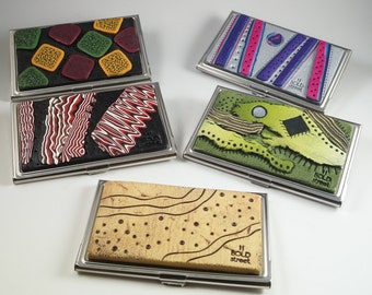 One Handcrafted Business Credit Card Holder Case - Choice of Item
