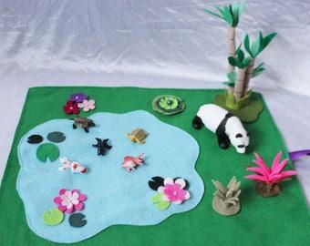 Koi Fish Pond Play Mat - Asian Themed Play Mat - Panda Play Mat - Complete Set - Travel Play Mat - Roll Up Play Mat - Ready to ship