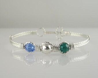 WSB-0129  Friendship, Couples, Sisters, Handmade Birthstone Swarovski Crystal and .925 Sterling Silver Wire Wrapped Bangle Bracelet