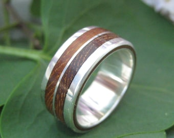 Lados-Linea Ring - wood and recycled sterling band