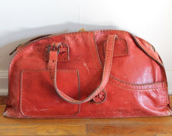 60s Retro Red Leather Boho Hippie Large Bag Purse