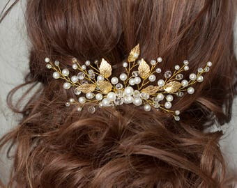 Wedding hair comb Vintage hair comb Bridal hair comb Bridal hair piece Wedding headpiece Bridesmaid Gold hair comb Leaf Crystal hair comb
