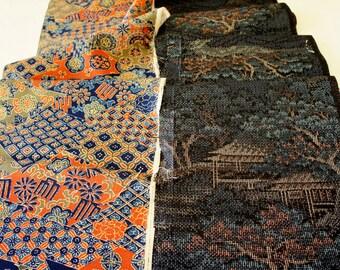 Vintage Japanese Silk Kimono Fabric | Patchwork Lot 112