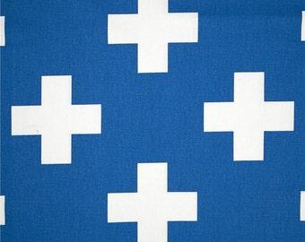 Cobalt Blue Swiss Cross Curtains. Pair of 2 Drapery Panels. Large Plus Sign. Royal Blue Window Treatments.