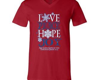 V-Neck for Men Ugly Christmas Shirts Love Peace Hope Joy Men's V Neck Shirts