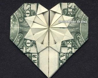 MONEY ORIGAMI HEART - Folding Instructions Included - Dollar Bill - Diagram Cash Instruction Diagram