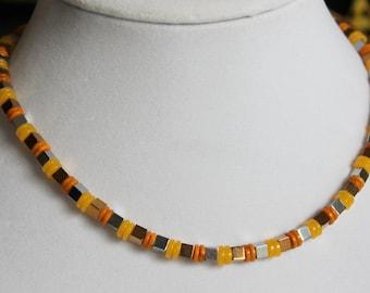 Yellow Amber Metallic Cube Necklace