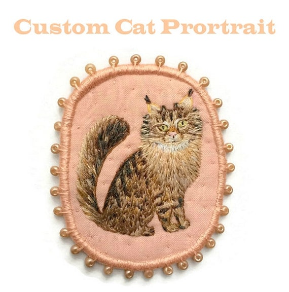 Custom Cat Portrait. Commission. Personalized Cat Brooch. Hand embroidered textile pet jewelry